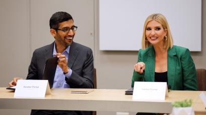 White House adviser Ivanka Trump and Google CEO Sundar Pichai sit in on a roundtable discussion.