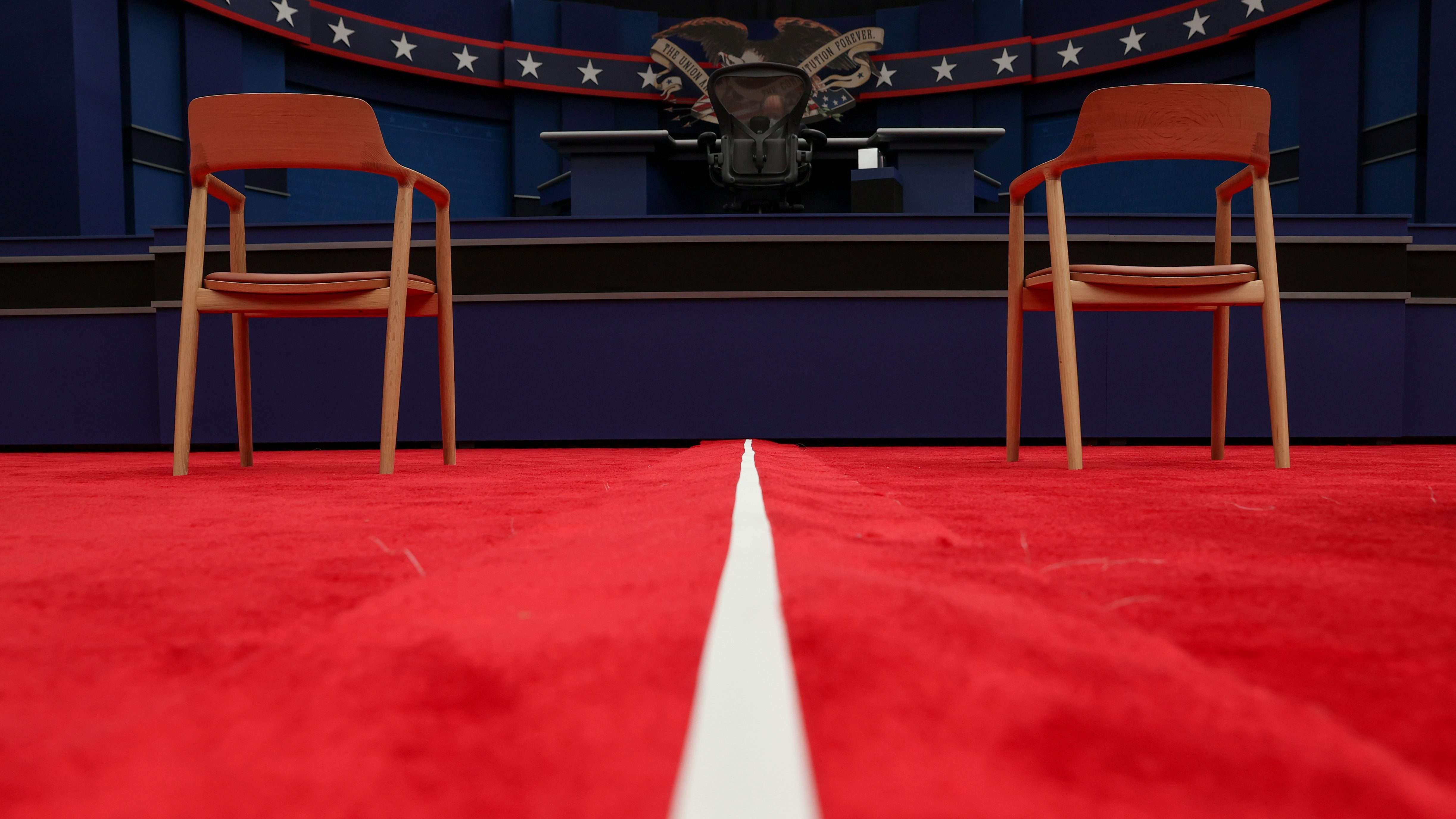A white line divides the two halves of the US presidential debate stage in Cleveland in September 2020