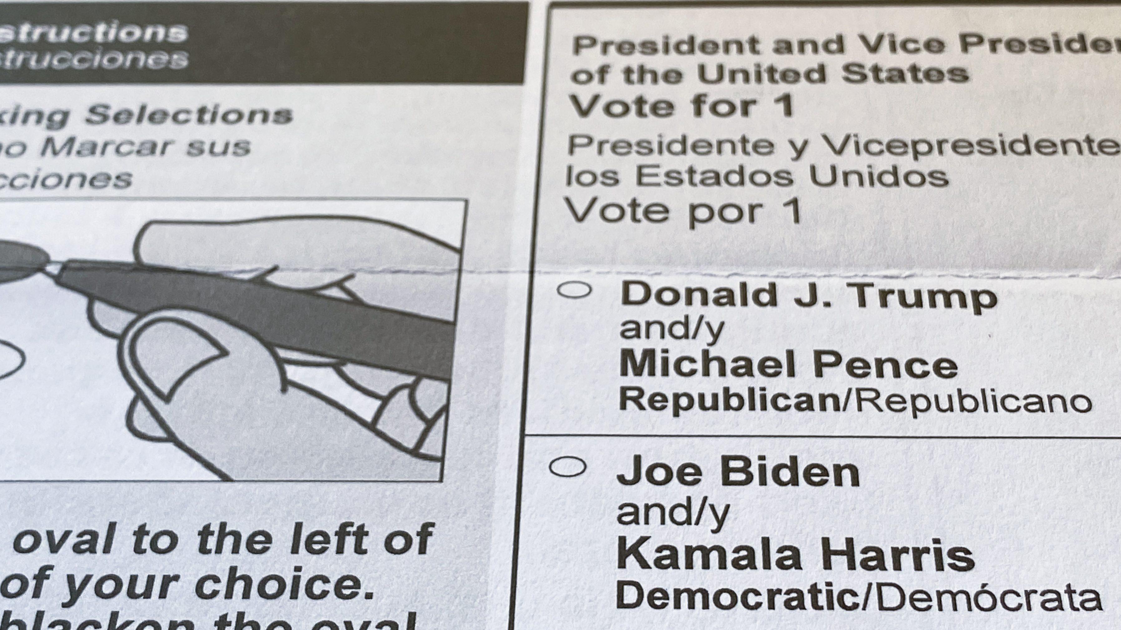 A 2020 US presidential election ballot
