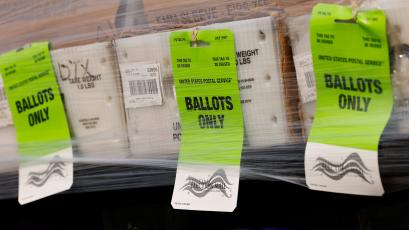 Mail-in Ballots shipped from Orange County Registrar of Voters to U.S. Post Office for delivery