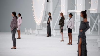 Models present creations by designer Virginie Viard as part of her Spring/Summer 2021 ready-to-wear collection show for fashion house Chanel