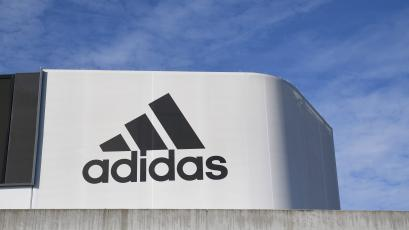 The Adidas logo at the company's headquarters in Herzogenaurach, Germany