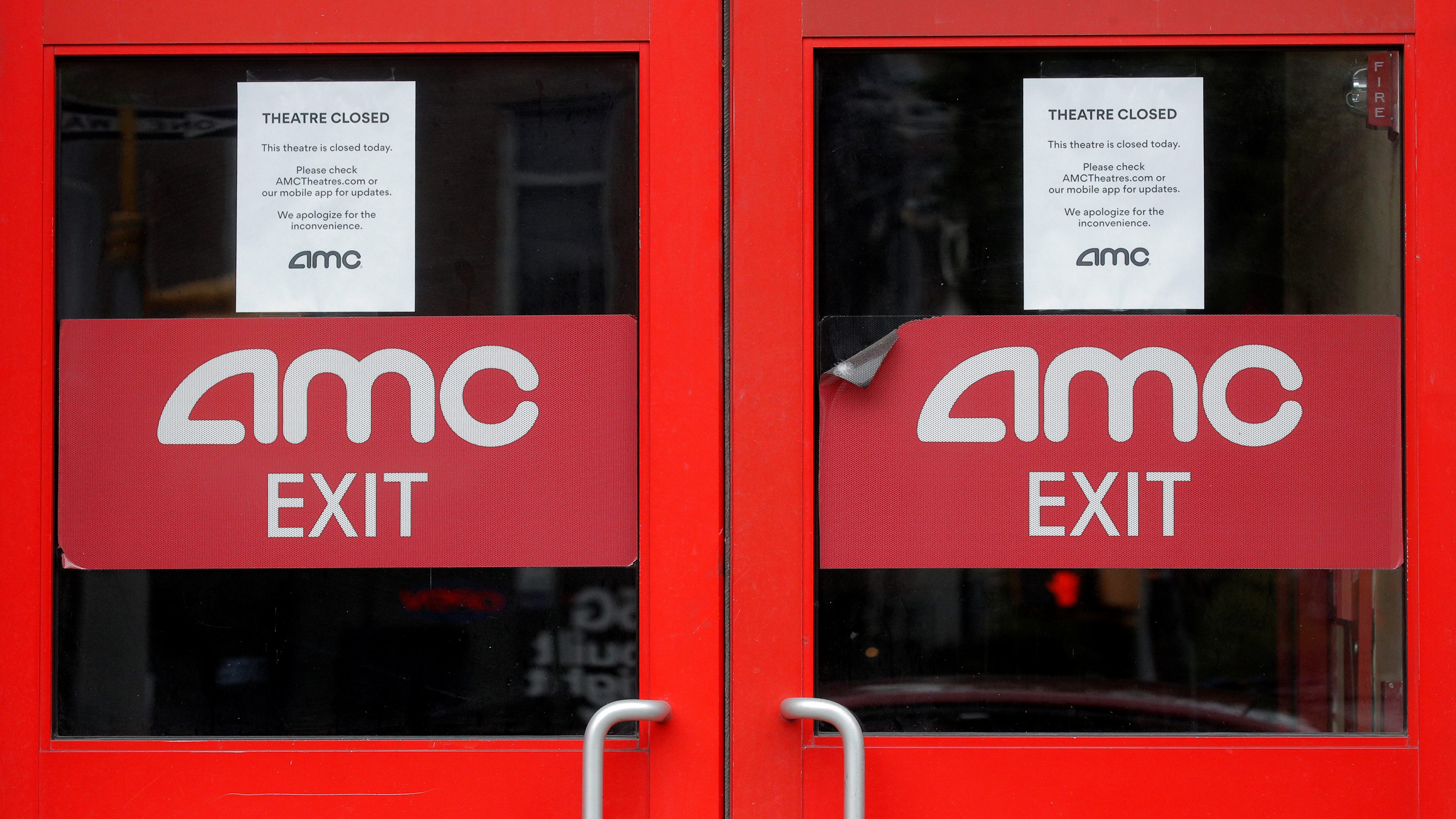 Closed signs are seen on an AMC Theatre during the outbreak of the coronavirus disease (COVID-19), in New York