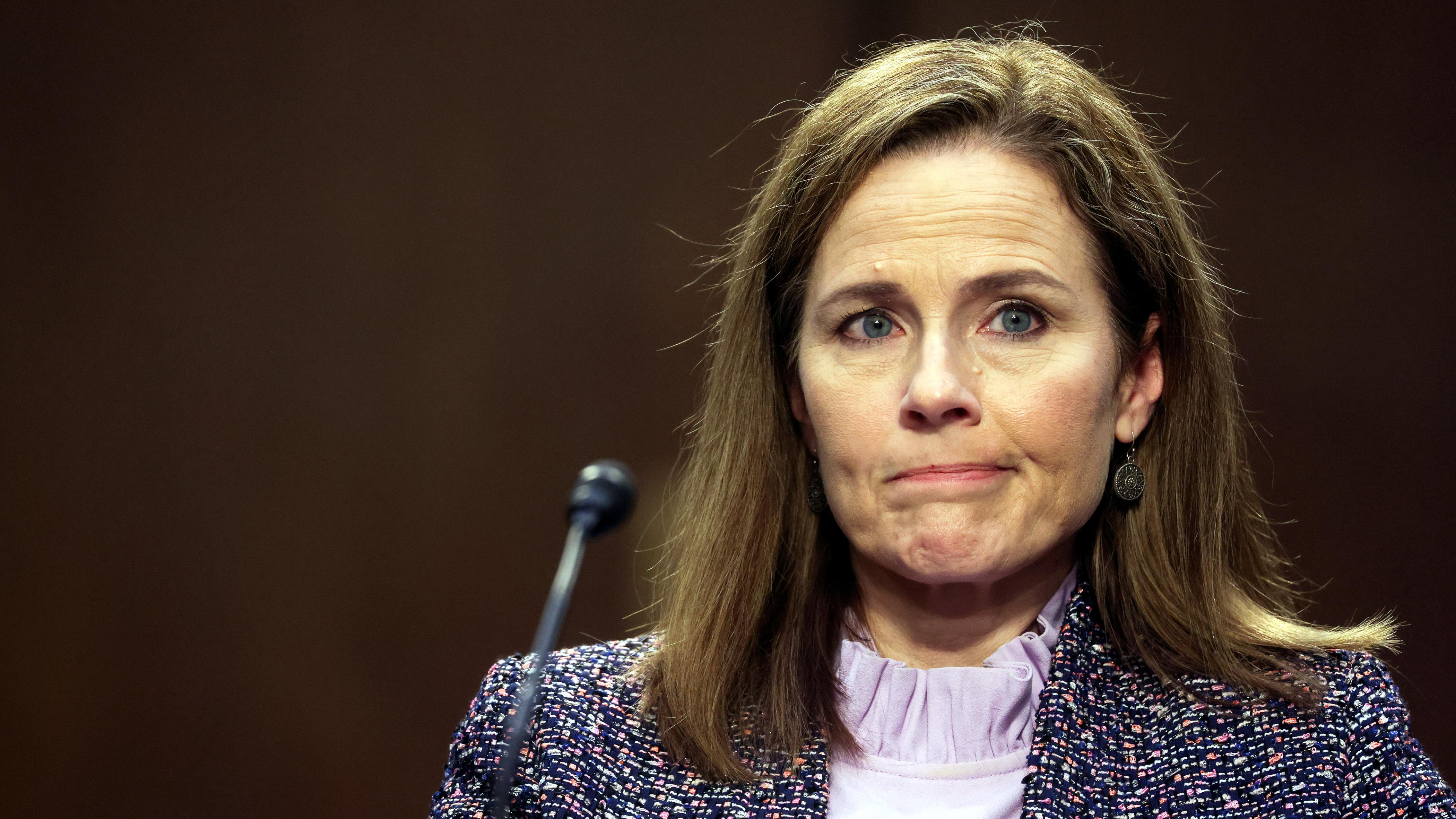 U.S. Supreme Court nominee Judge Amy Coney Barrett testifies.