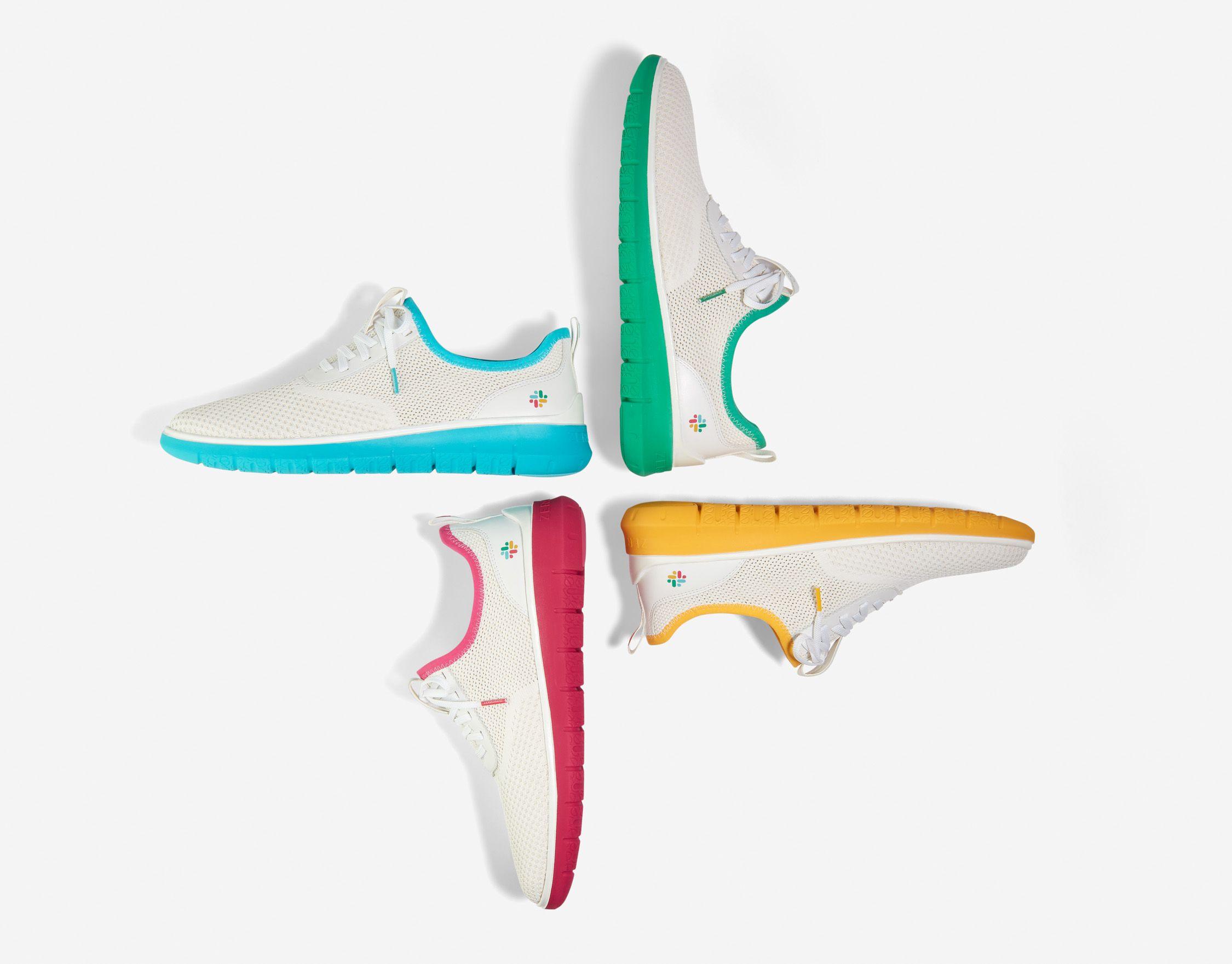 Shoes replicating the Slack logo