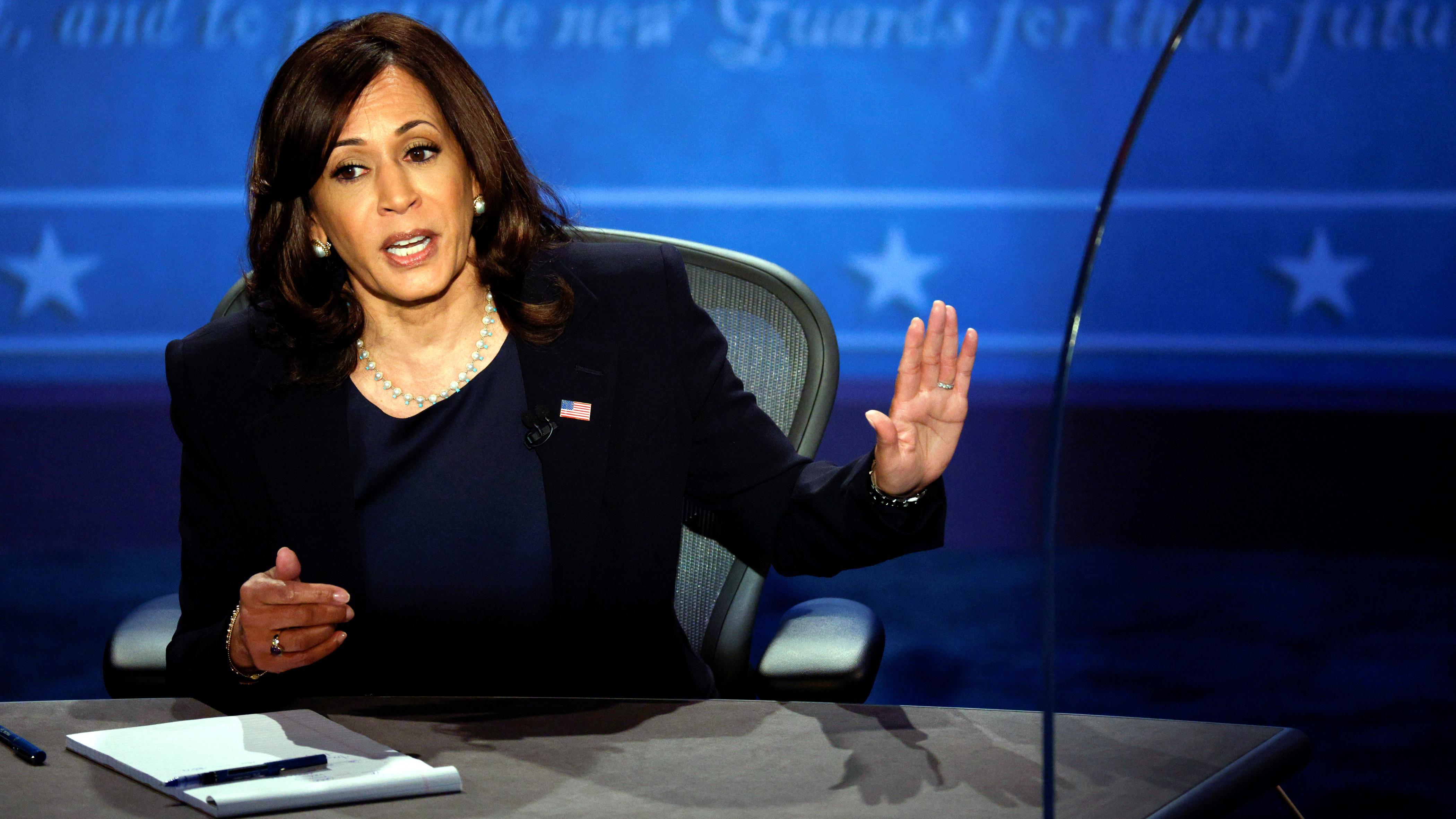 Democratic vice presidential nominee Senator Kamala Harris speaks during the vice presidential campaign debate