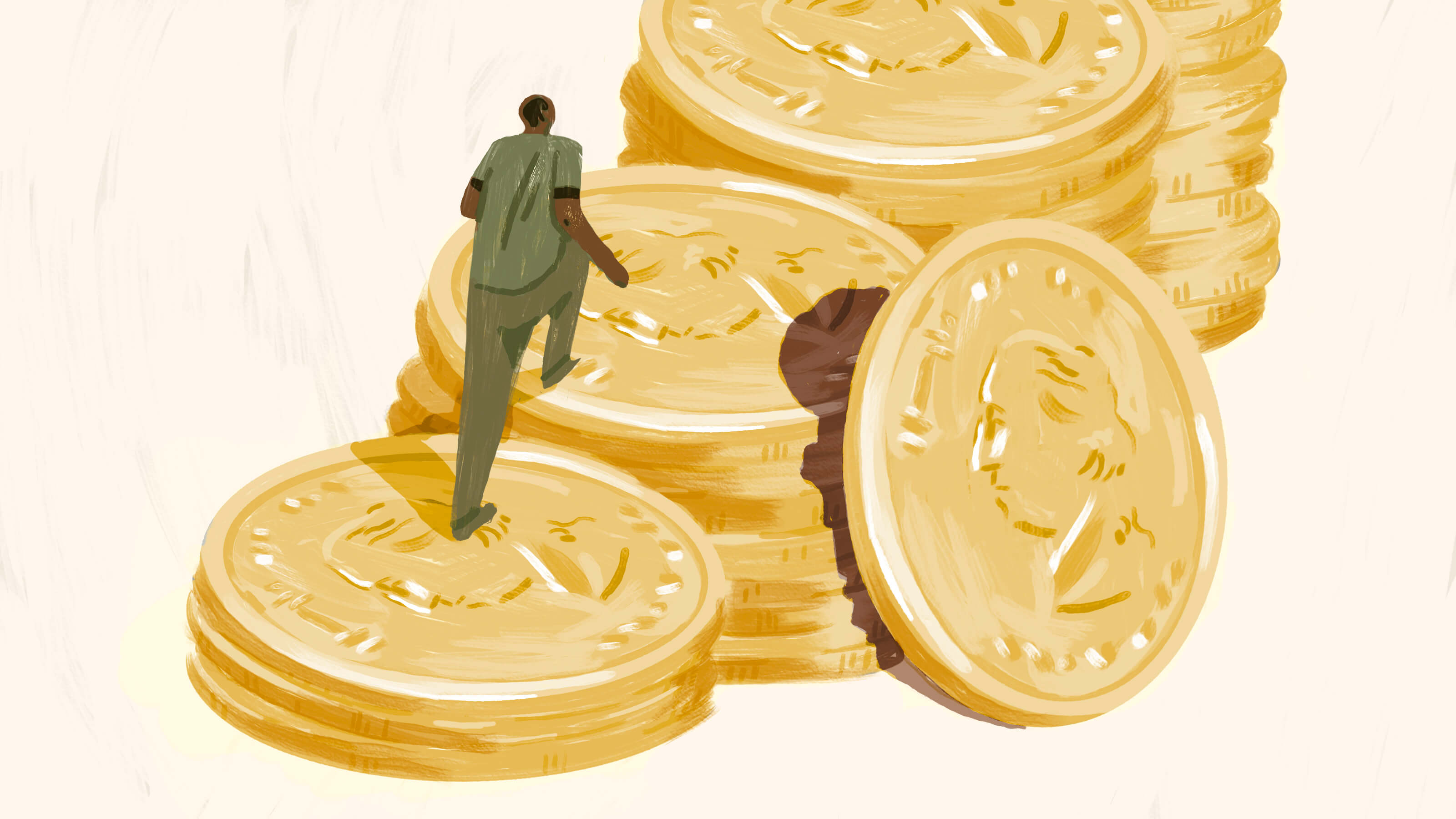 illustration of Black man climbing up stack of coins