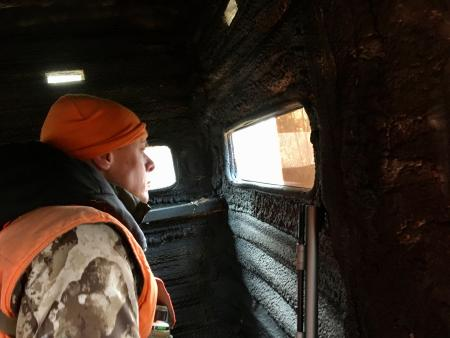Steven Rinella in a deer blind.