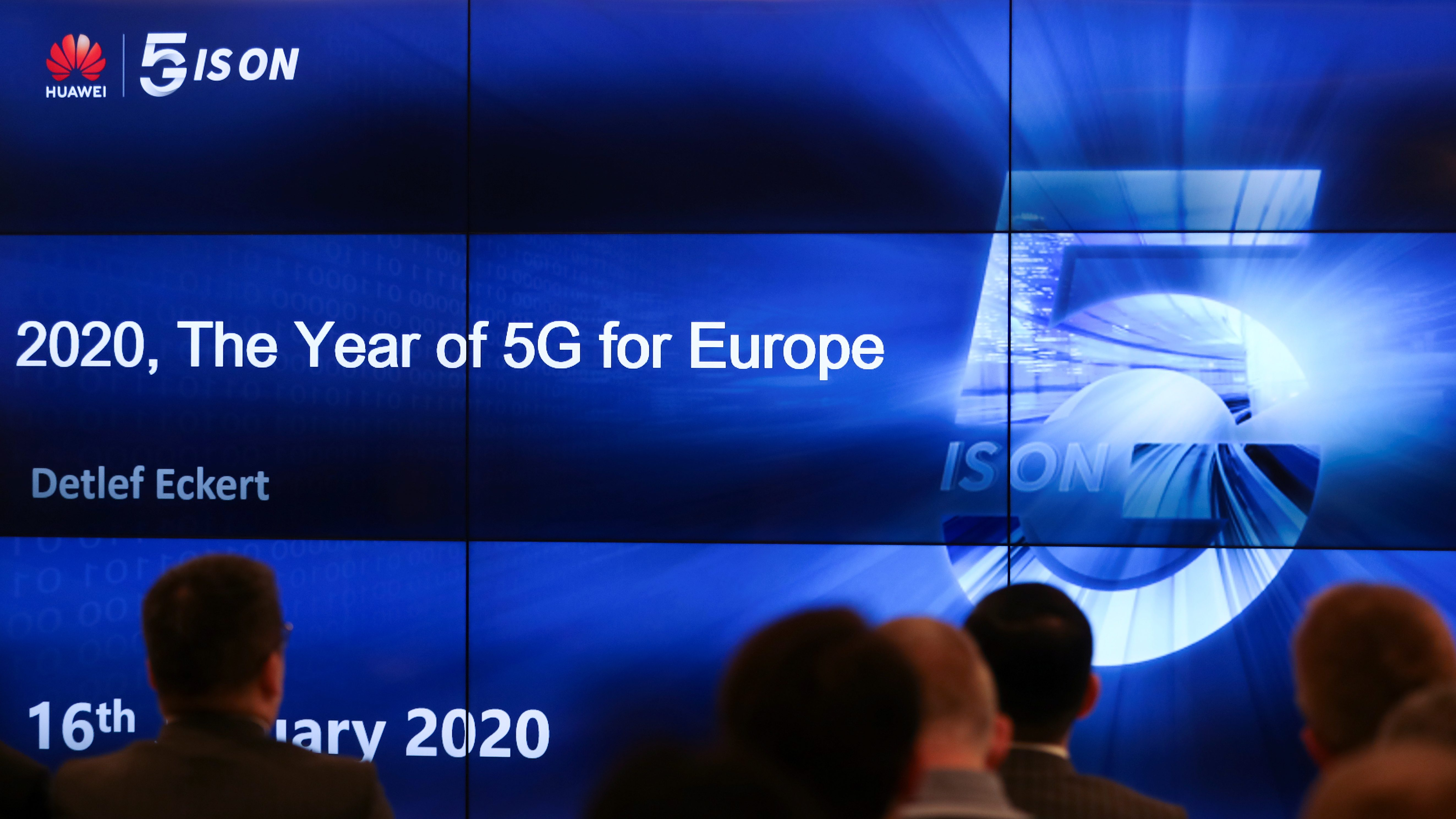 """People attend a conference """"2020, The Year of 5G for Europe"""""""