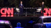Democratic U.S. presidential nominee and former Vice President Joe Biden takes part in an outdoor town hall meeting with CNN host Anderson Cooper in Scranton, Pennsylvania
