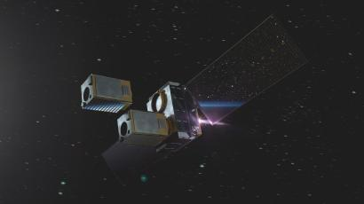 A rendering of Momentus' space tug in action.