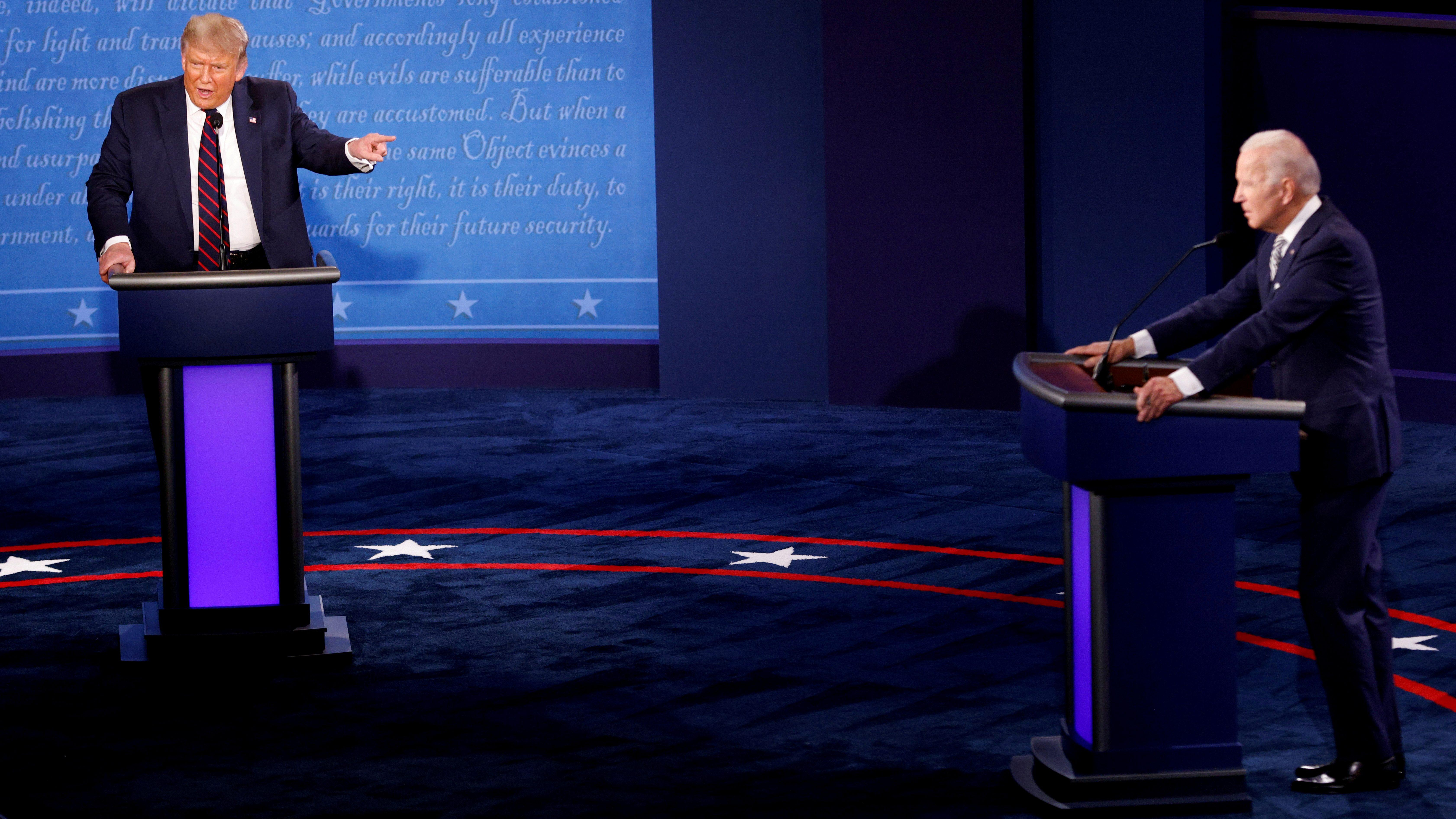 U.S. President Donald Trump and Democratic presidential nominee Joe Biden participate in their first 2020 presidential campaign debate in Cleveland