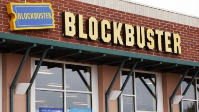 A photo of Blockbuster movie rental store.
