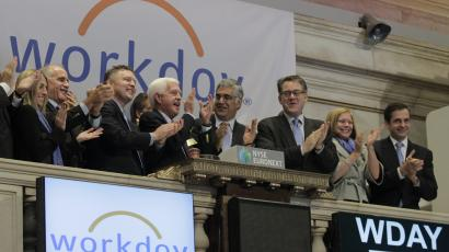 Workday Inc. Chairman, Co-Founder and Co-CEO Aneel Bhusri and Co-Founder and Co-CEO Dave Duffield ring the opening bell at the New York Stock Exchange