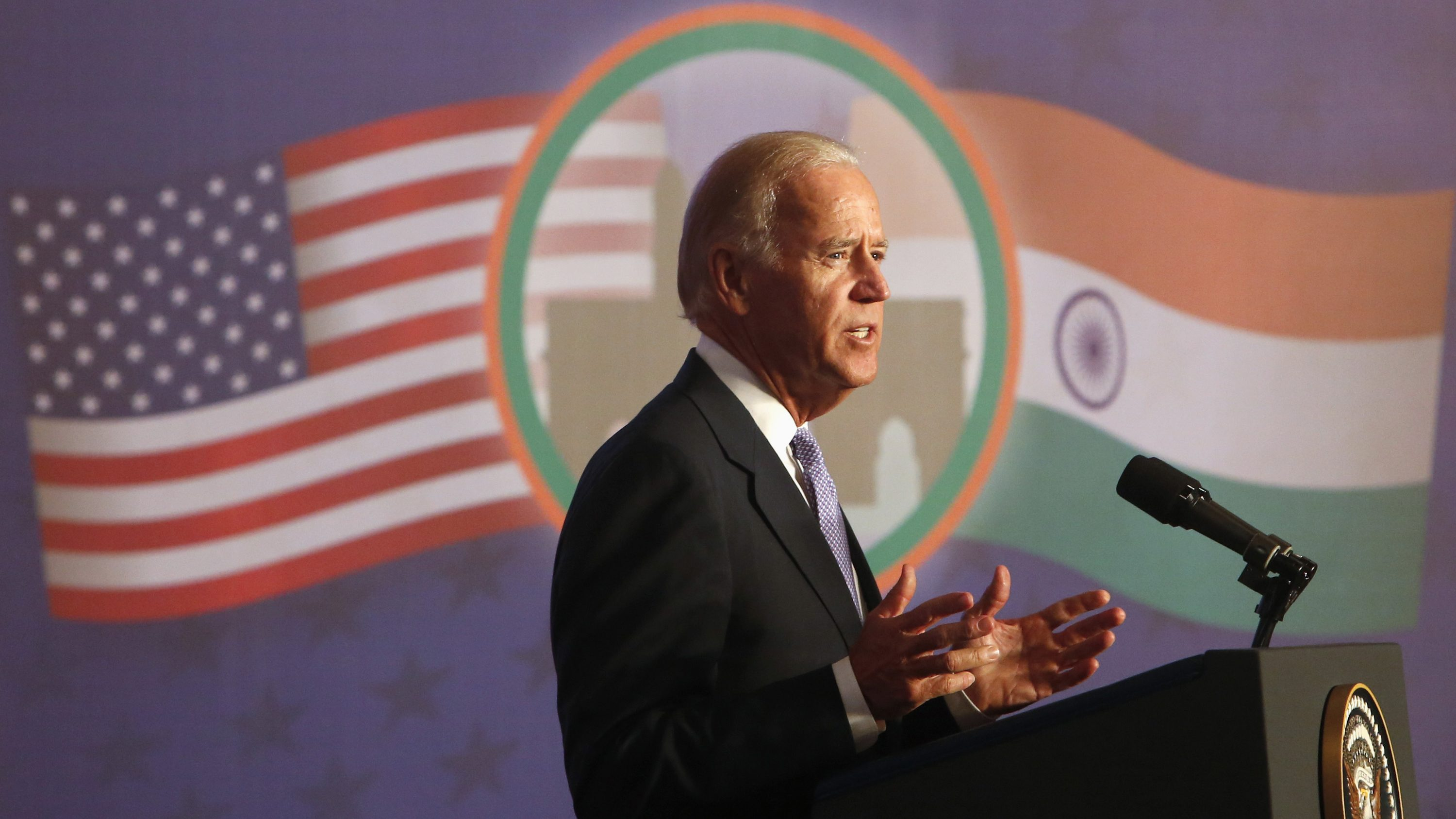 U.S. Vice President Biden delivers an address at the Bombay Stock Exchange in Mumbai
