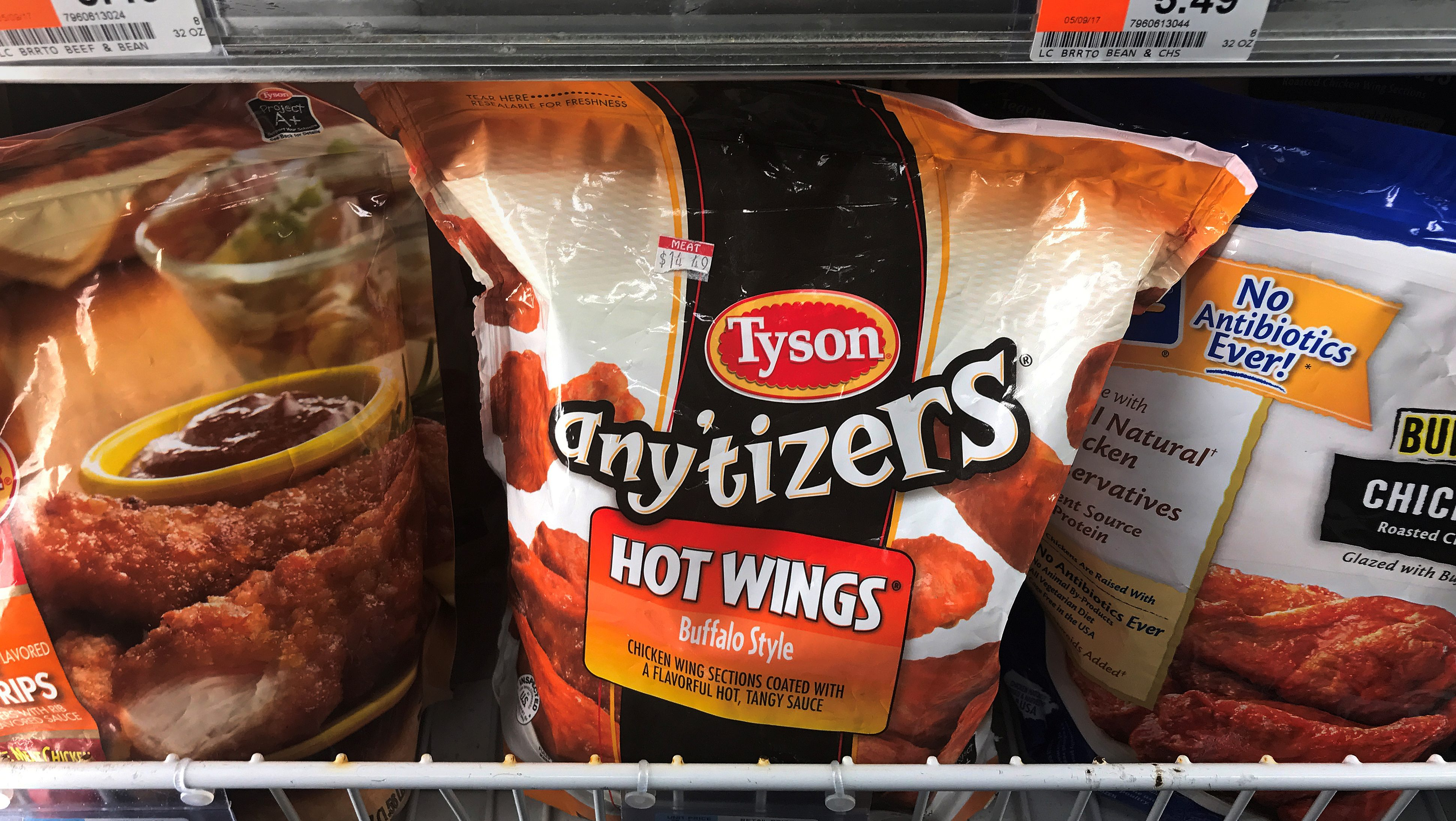 Tyson Foods brand frozen chicken wings in a grocery store freezer