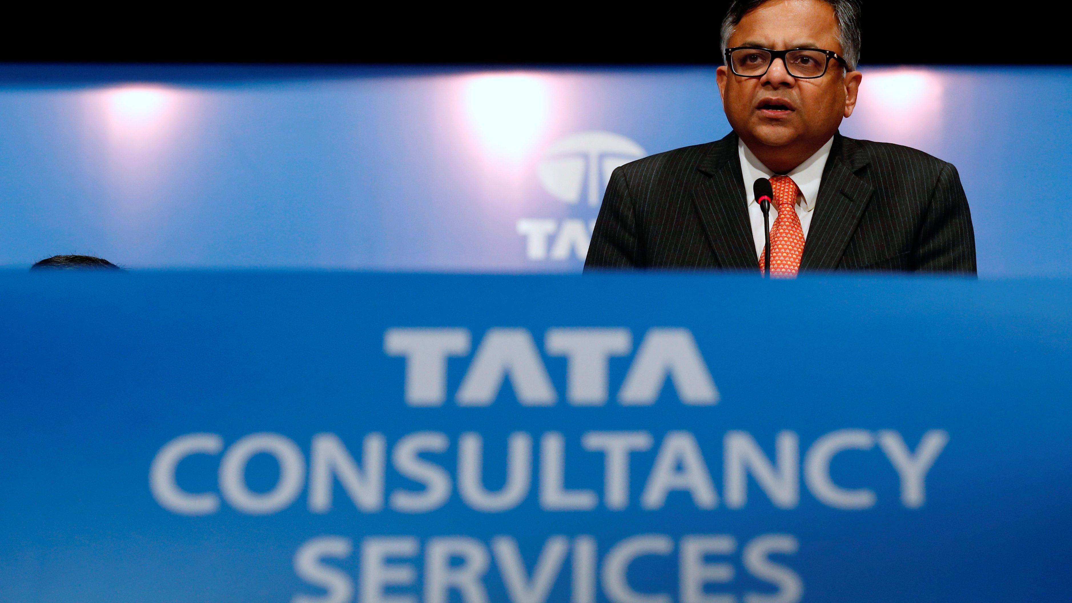 Tata Sons Chairman Natarajan Chandrasekaran speaks to shareholders during the Tata Consultancy Services (TCS) annual general meeting in Mumbai