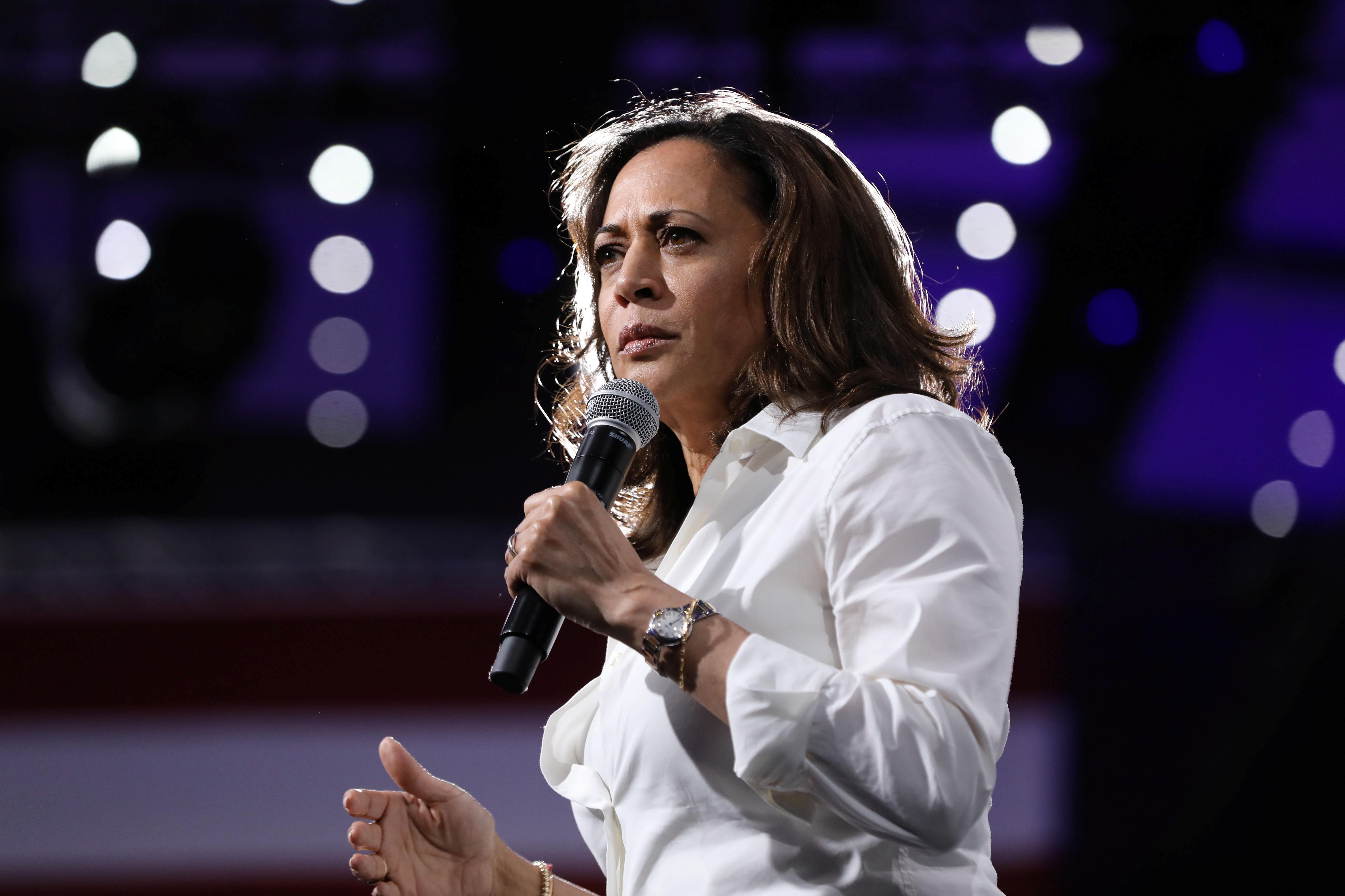 2020 Democratic U.S. presidential candidate and U.S. Senator Kamala Harris speaks during the Presidential Gun Sense Forum in Des Moines