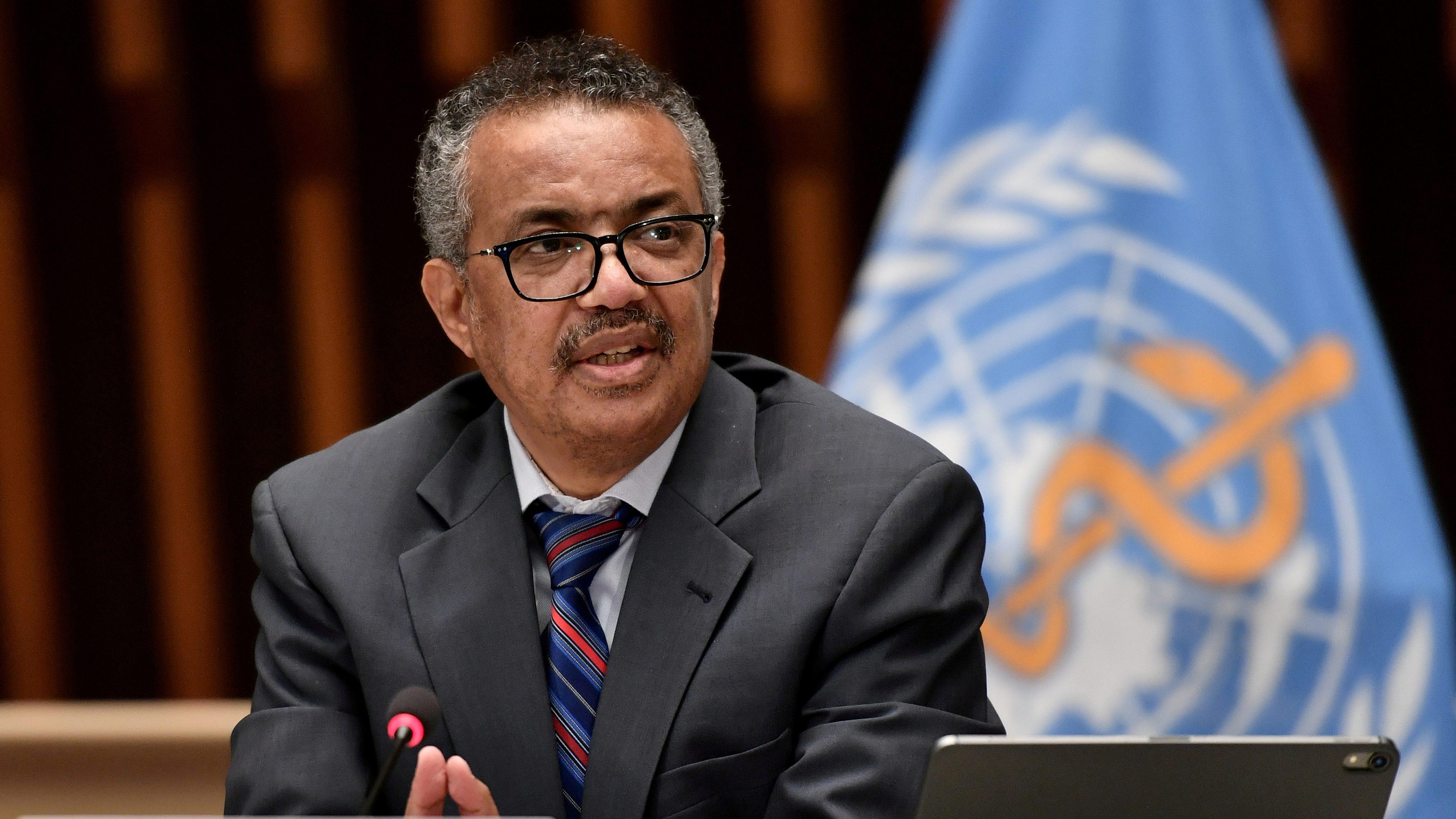World Health Organization (WHO) Director-General Tedros Adhanom Ghebreyesus attends a news conference in Geneva Switzerland July 3, 2020.