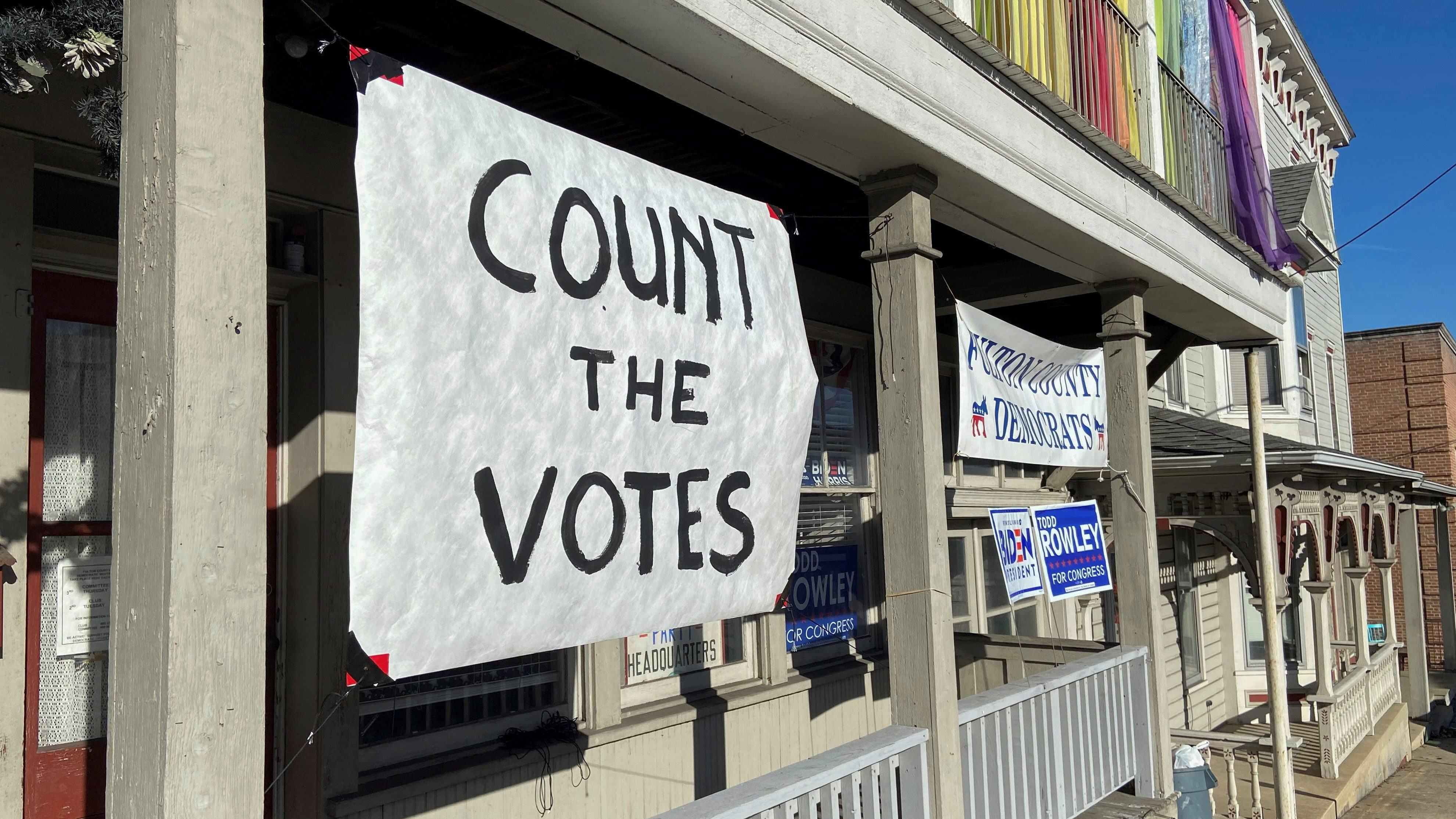 A sign urging people to vote is seen on the porch of the Democratic Party's Fulton County headquarters on Election Day in McConnellsburg, Pennsylvania November 3, 2020. Picture taken November 3, 2020.