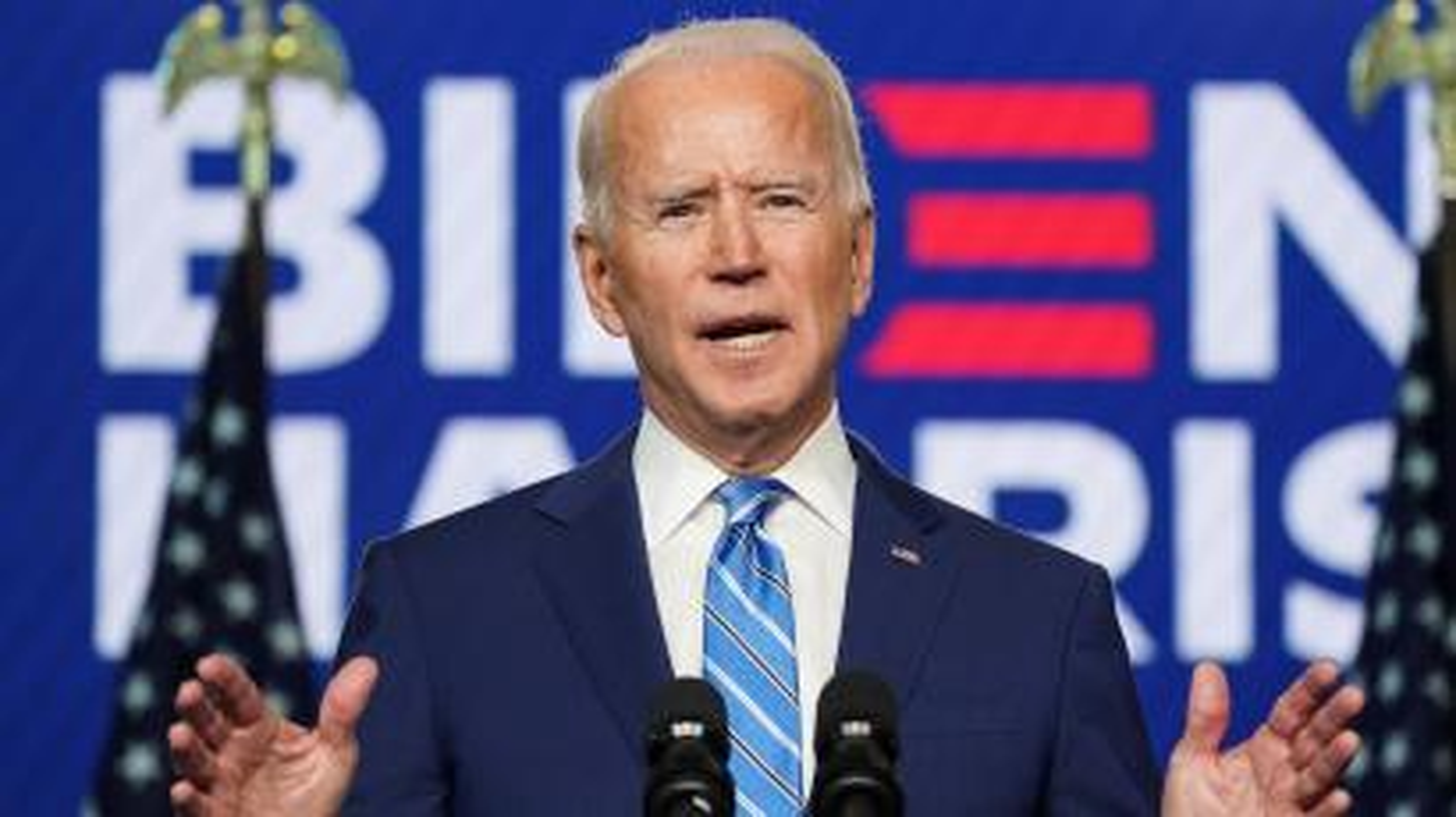 Democratic U.S. presidential nominee Joe Biden speaks about the 2020 U.S. presidential election results during an appearance in Wilmington, Delaware, U.S., November 4, 2020.