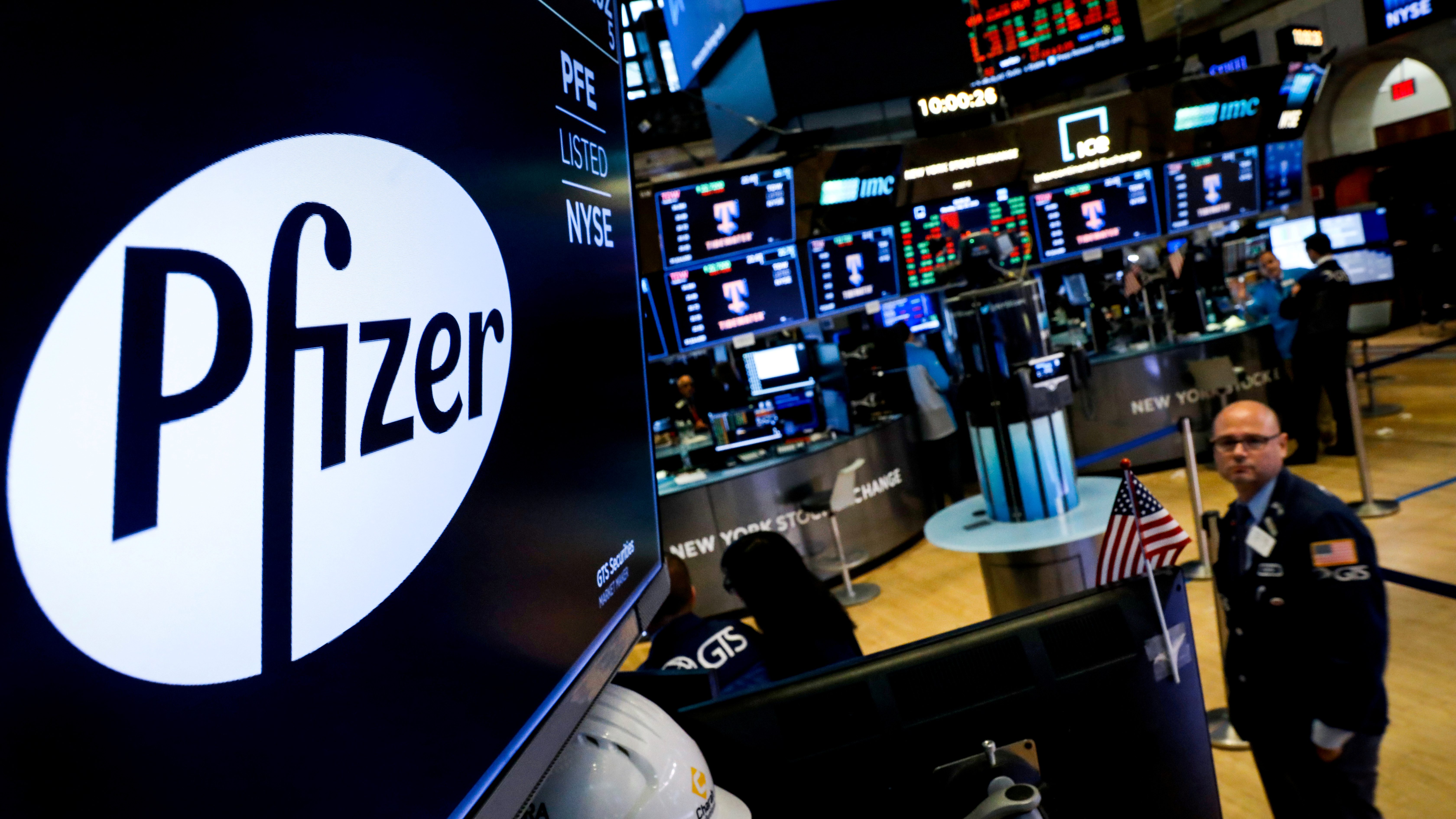 A logo for Pfizer is displayed on a monitor on the floor at the New York Stock Exchange in New York, U.S., July 29, 2019.