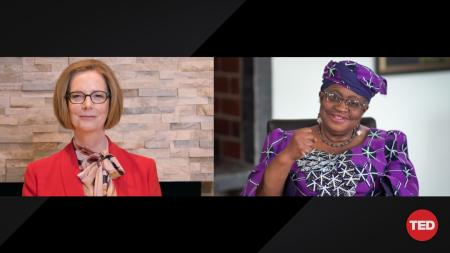 Julia Gillard and Ngozi Okonjo-Iweala speaking at TED Women