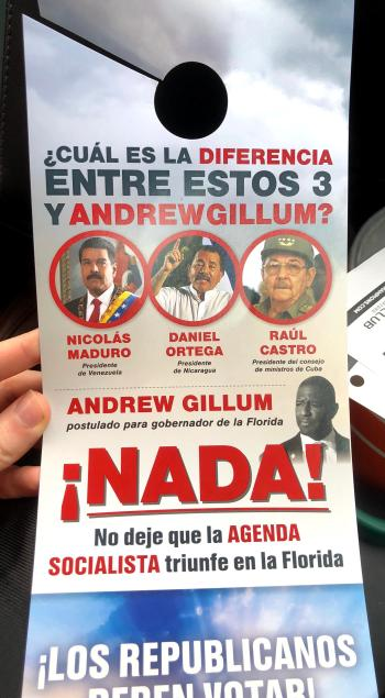A campaign mailer equates Andrew Gillum, the 2018 Florida Democrat candidate for governor, with dictators Raul Castro, Nicolas Maduro, and Daniel Ortega.
