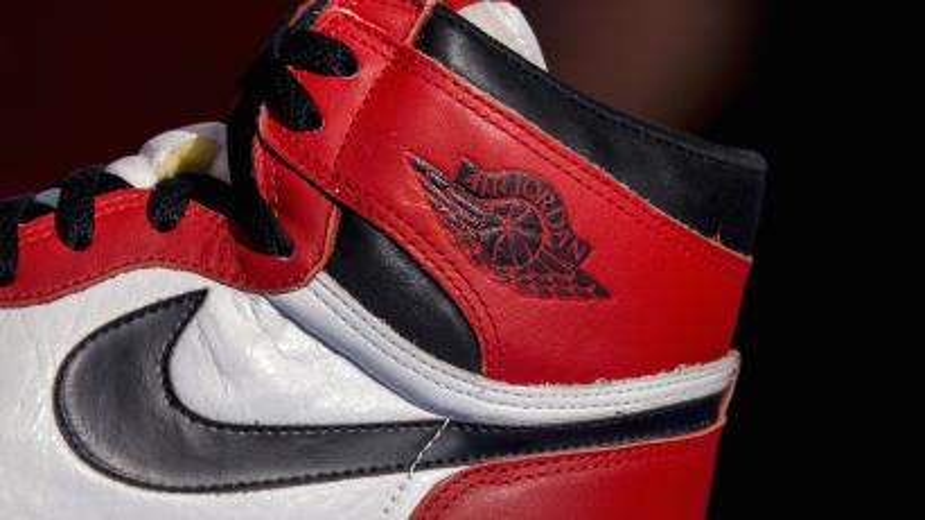 A photo of the original red and black Air Jordan sneaker