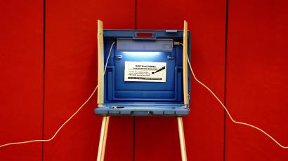 A privacy booth for voting is seen on Election Day at a polling station inside Knapp Elementary School in Racine, Racine County, Wisconsin