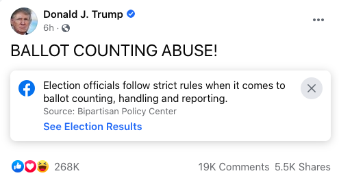 """A Facebook post from Donald Trump, which reads """"BALLOT COUNTING ABUSE"""", carries a warning label, but has received thousands of likes, comments, and shares."""