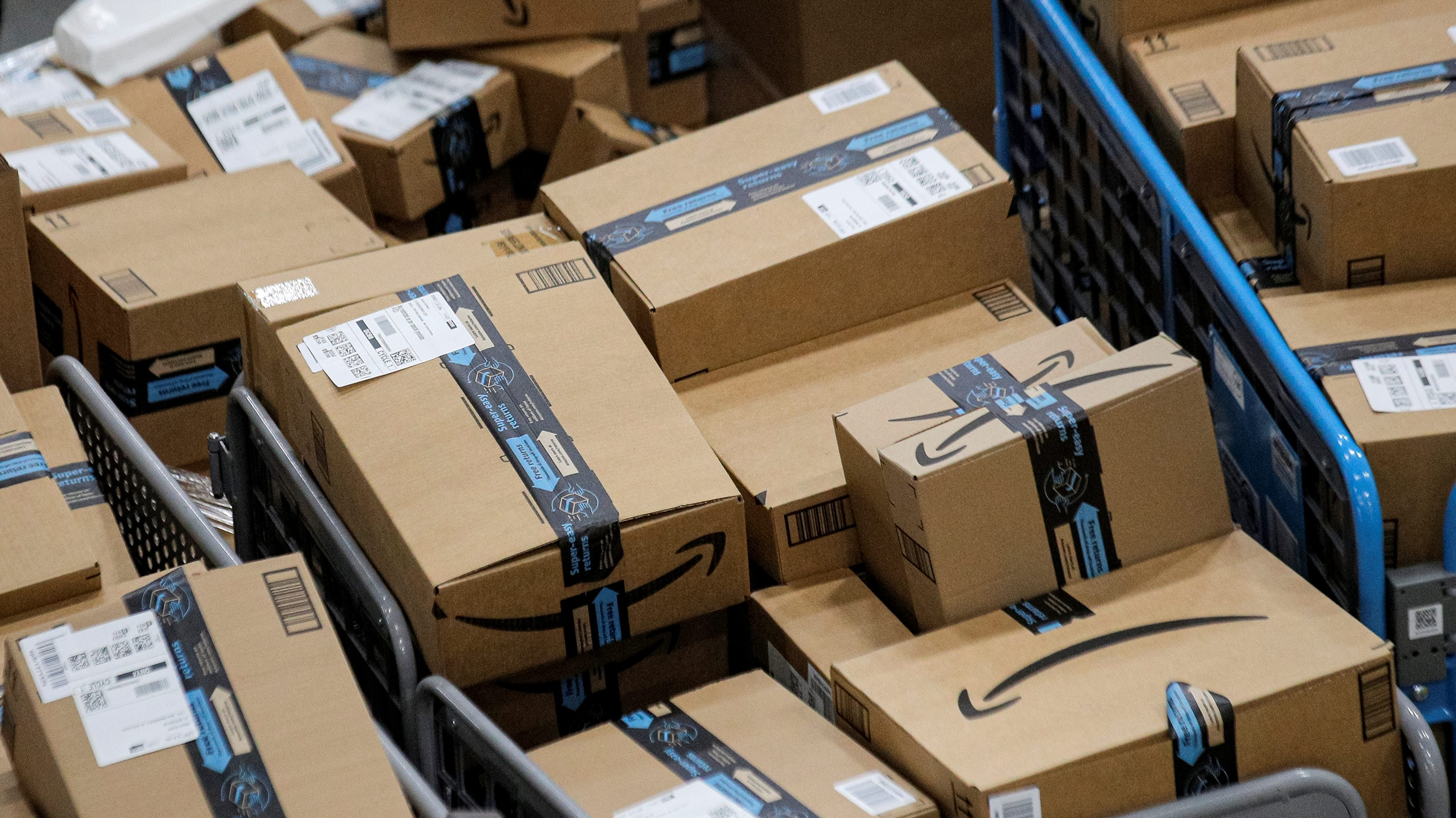 Packages inside an Amazon distribution center.
