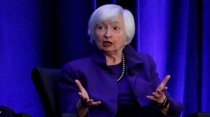 Former Federal Reserve Chairman Janet Yellen speaks during a panel discussion at the American Economic Association/Allied Social Science Association (ASSA) 2019 meeting in Atlanta, Georgia.