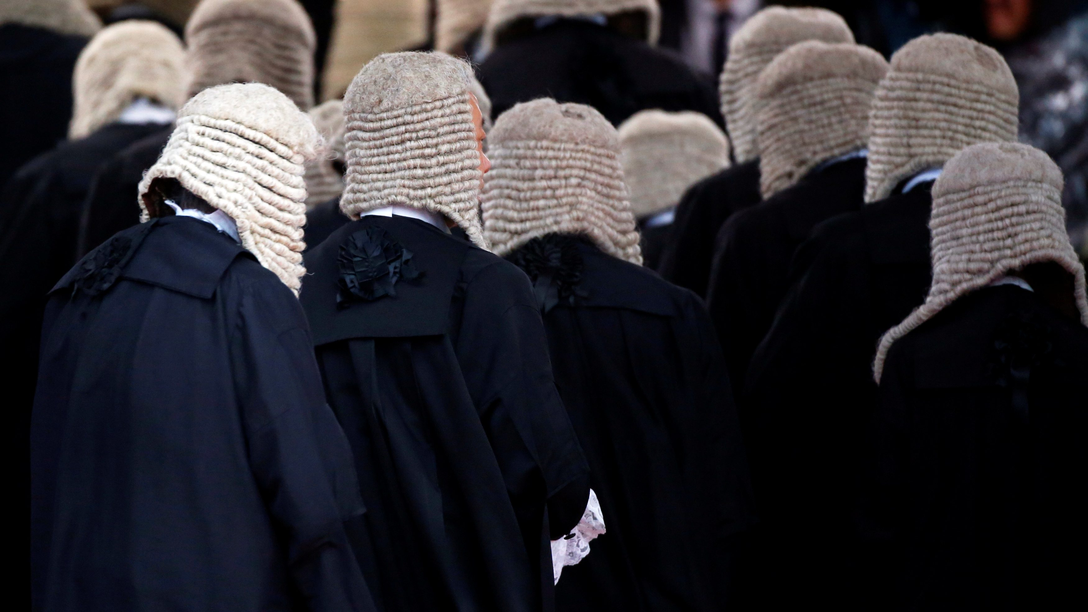 Judges wearing wigs attend a ceremony to mark the beginning of the legal year in Hong Kong, China January 8, 2018.