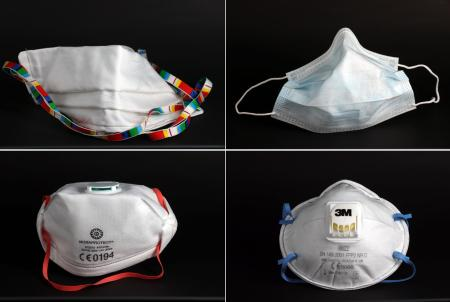 A combination of four images shows a surgical mask (top R), a self-made protective mask (top L), a FFP3 Respirator mask (bottom L) and a FFP2 Respirator mask (bottom R) in these illustrations taken, April 6, 2020. REUTERS/Kai Pfaffenbach/Illustration