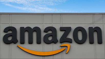 The Amazon logo is seen outside its JFK8 distribution center in Staten Island, New York