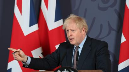 British PM Johnson holds news conference on Brexit trade deal in London.
