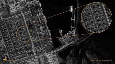 An image of oil refinery in Taiwan captured by Capella's SAR satellite.