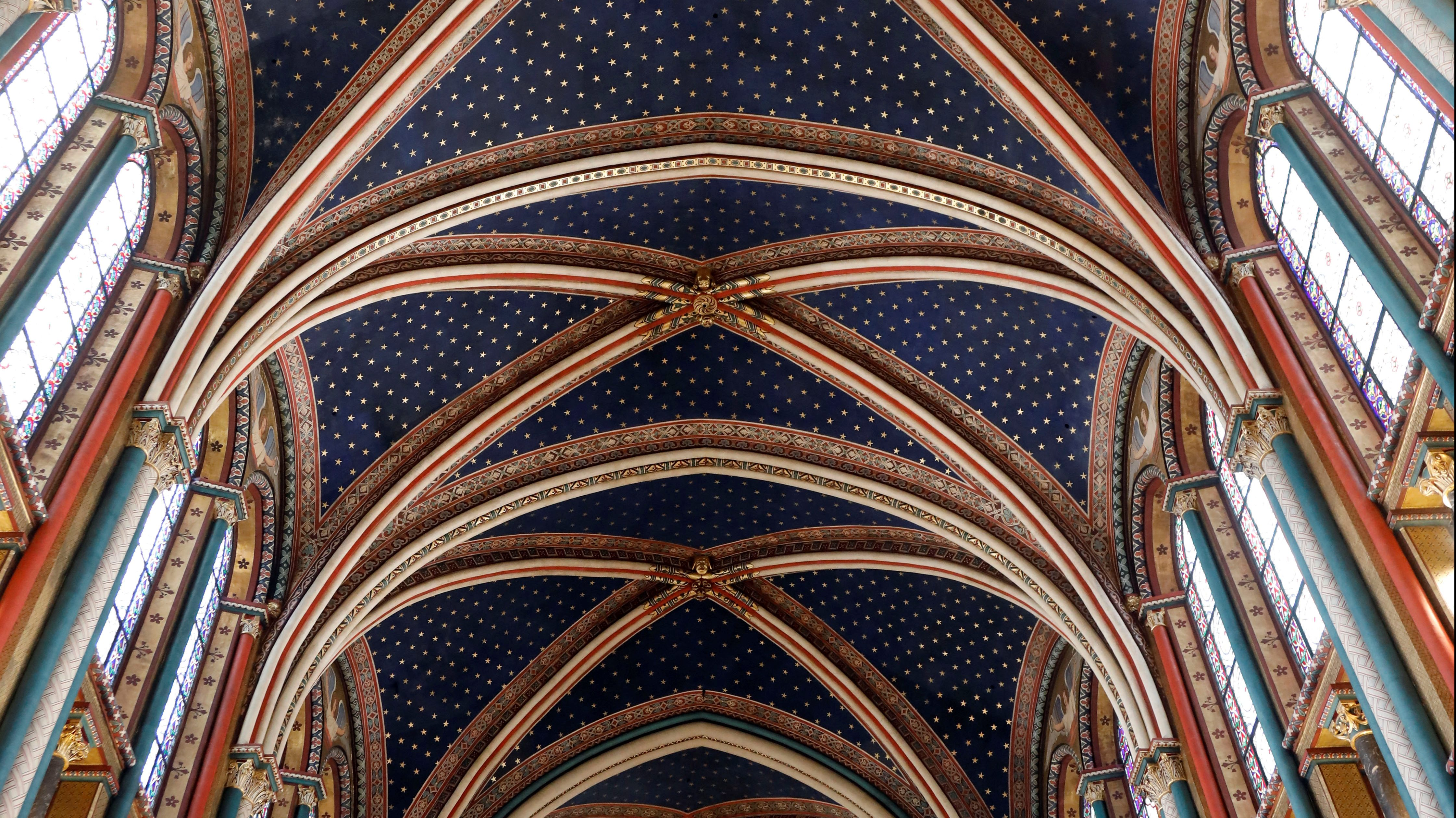 The ceiling of a church.
