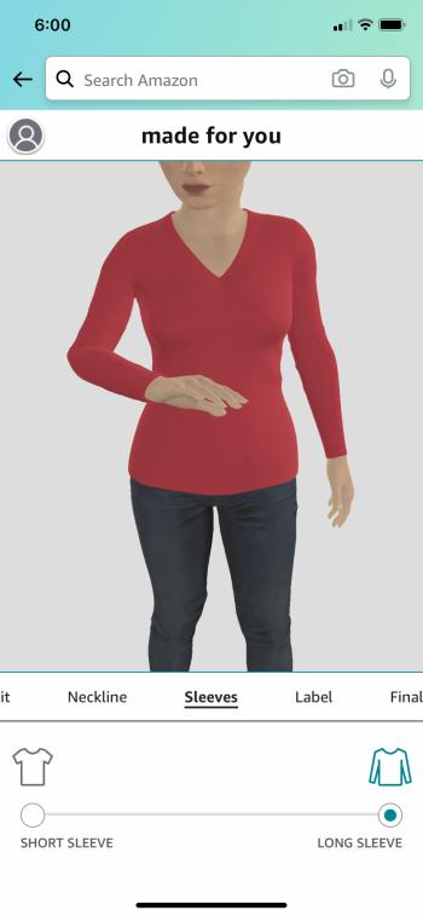 تصویر آمازون ساخته شده برای شما که بدن مجازی دو نفره زن را با یک تی شرت آستین بلند قرمز نشان می دهد