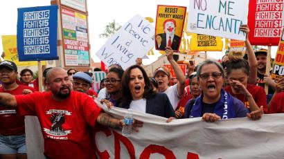 U.S. Democratic presidential candidate and U.S. Senator Kamala Harris (D-CA), joins a demonstration with striking McDonalds workers demanding a $15 minimum wage in Las Vegas, Nevada U.S