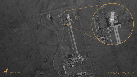 An image of the Jiuquan Launch Center in China captured by Capella's SAR satellite.