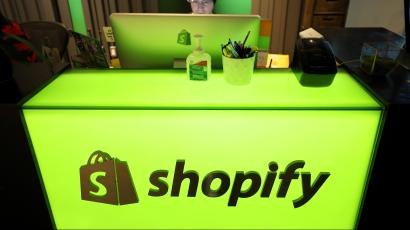 An employee works at Shopify's headquarters in Ottawa, Ontario, Canada