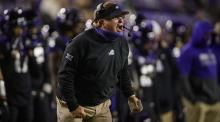 TCU Horned Frogs head coach Gary Patterson yells to his team during the second half against the Louisiana Tech Bulldogs at Amon G. Carter Stadium.