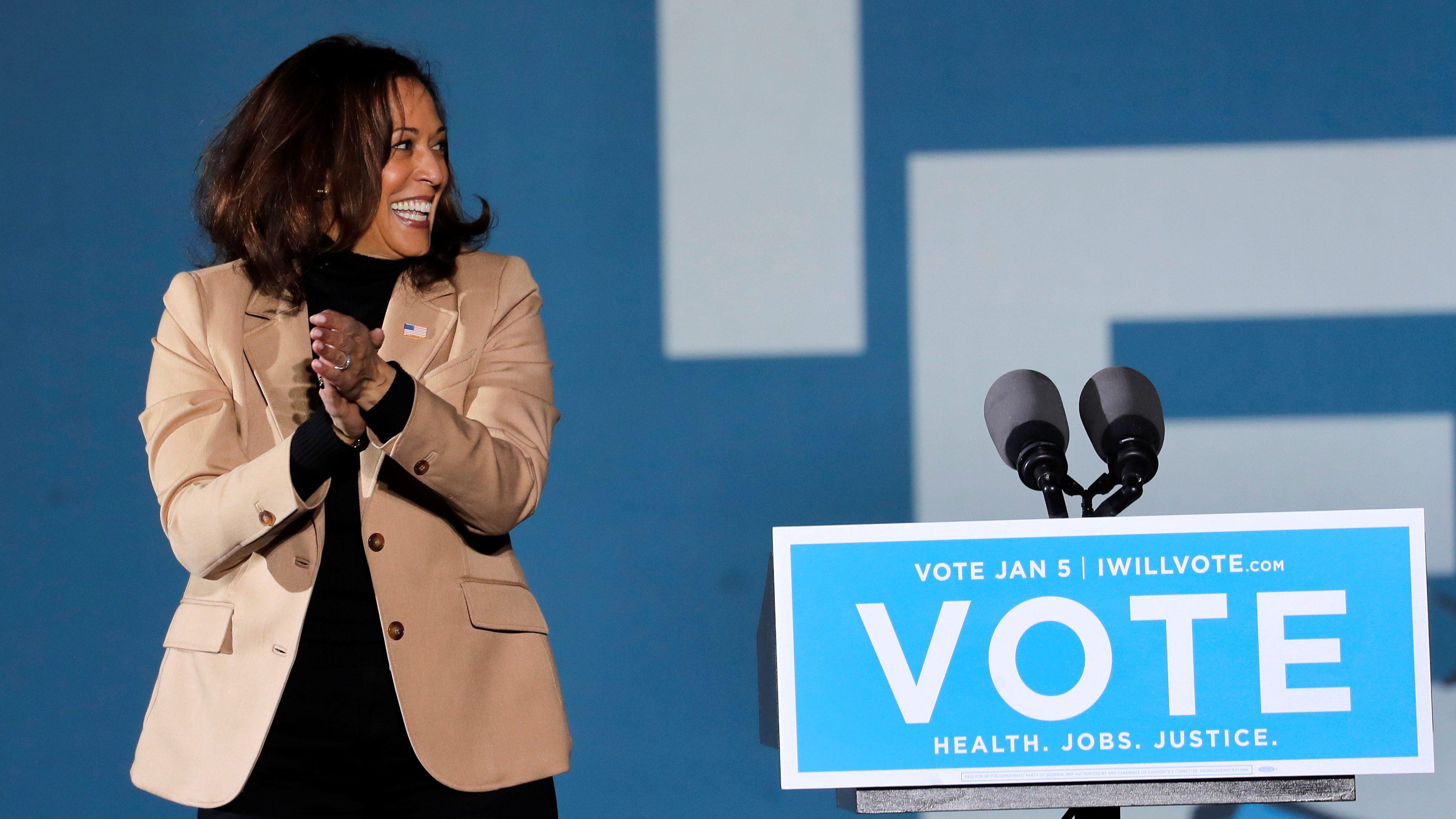 U.S Vice President-elect Kamala Harris campaigns for Democratic U.S. Senate candidates Jon Ossoff and Raphael Warnock at an outdoor campaign event ahead of U.S. Senate runoff elections in Savannah, Georgia