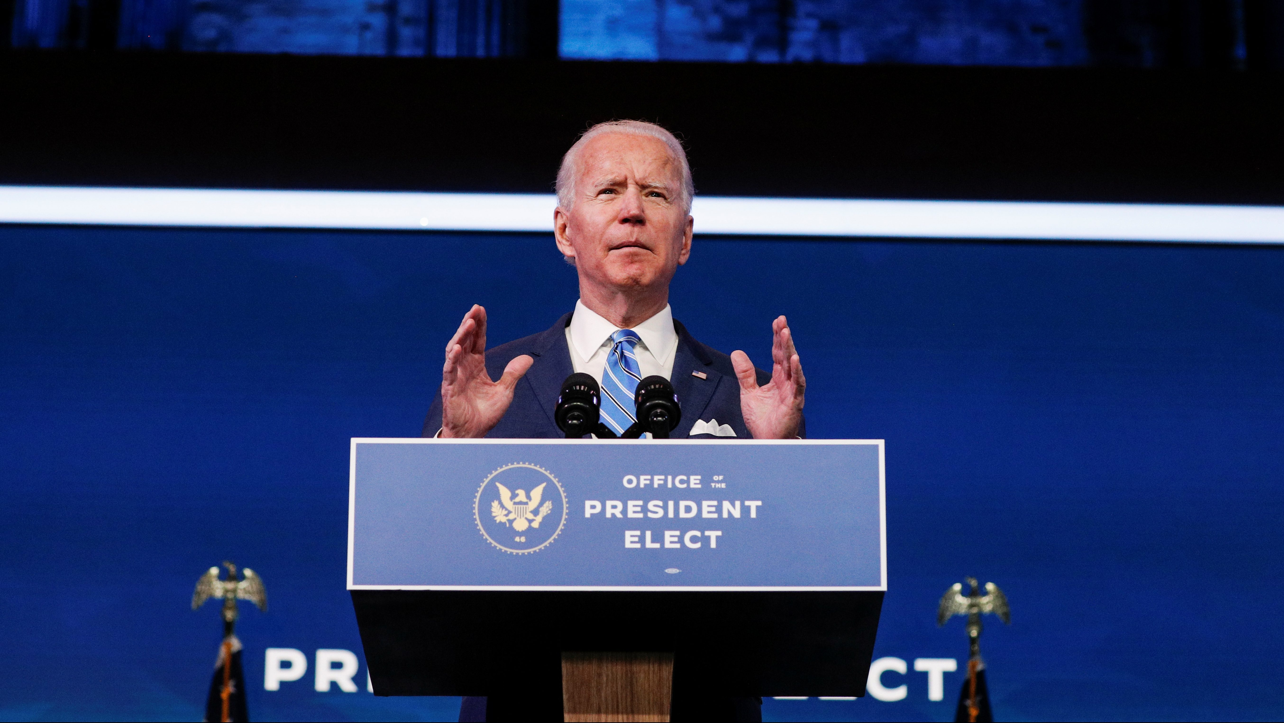 US president-elect Joe Biden delivers remarks during a televised speech on the current economic and health crises at The Queen Theatre in Wilmington, Delaware, U.S., January 14, 2021.