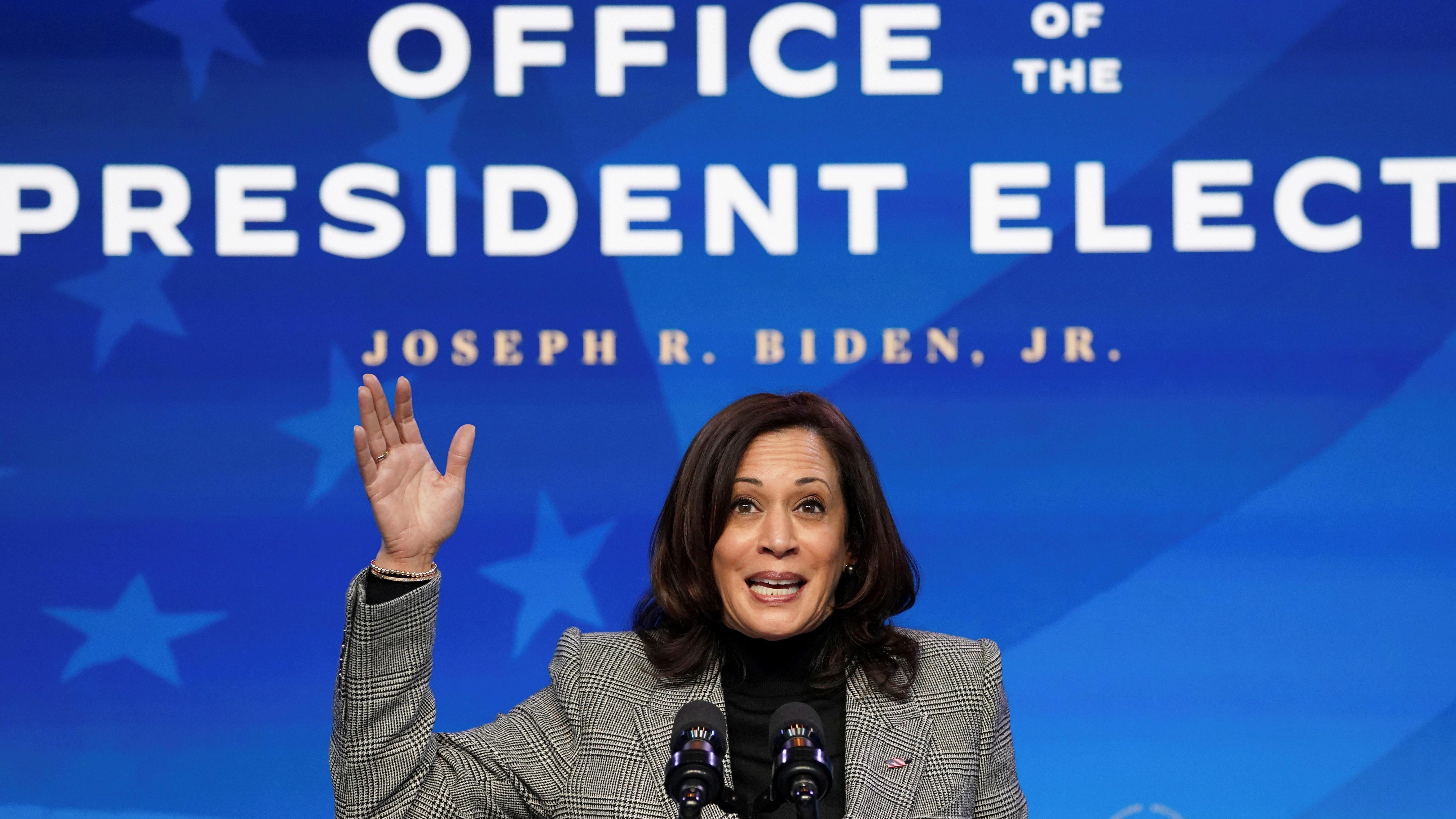FILE PHOTO: Kamala Harris speaks after U.S. president-elect Joe Biden announced his science team in Wilmington, Delaware