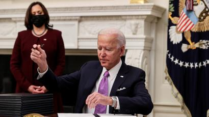 US President Biden holds coronavirus response event at the White House in Washington