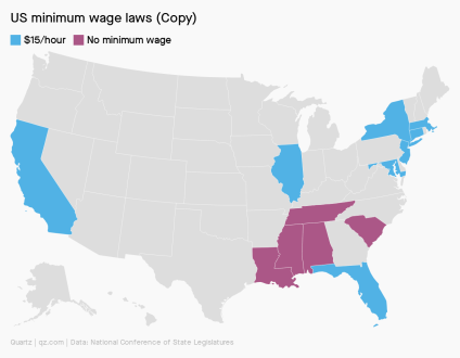 A chart that shows $15 minimum wage states in the US