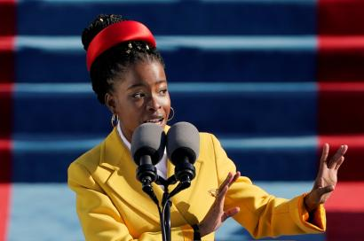American poet Amanda Gorman reads a poem during the 59th Presidential Inauguration at the U.S. Capitol in Washington January 20, 2021.